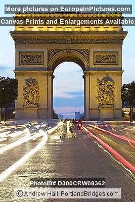 Arc de Triomphe, Paris, Dusk, Car Light Streaks