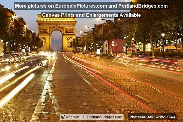 arc de triomphe paris dusk car light streaks photo d300crw08363. Black Bedroom Furniture Sets. Home Design Ideas