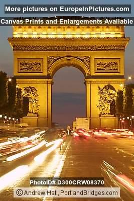 arc de triomphe paris dusk car light streaks photo d300crw08370. Black Bedroom Furniture Sets. Home Design Ideas