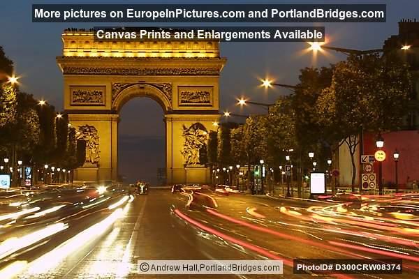 arc de triomphe paris dusk car light streaks photo d300crw08374. Black Bedroom Furniture Sets. Home Design Ideas