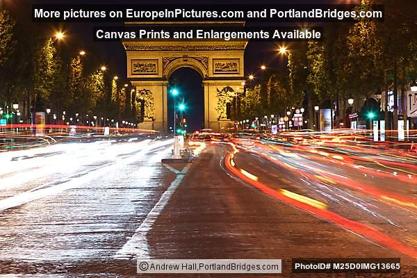 arc de triomphe at night champs lys es car light streaks photo m25d0img13665. Black Bedroom Furniture Sets. Home Design Ideas