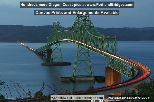 San Francisco Car Show >> Astoria-Megler Bridge, Car Streaks, Dusk Photo DREB0CRW12001