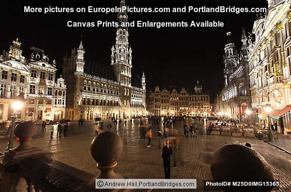 Grand Place, Town Hall Lit Up at Night, Brussels