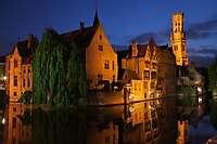 Bell Tower, Reflection, Dusk, Brugge (Bruges), Belgium