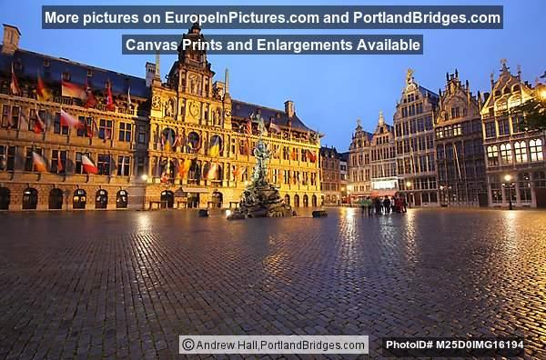 Grote Markt, Town Hall, at Dusk, Antwerp, Belgium