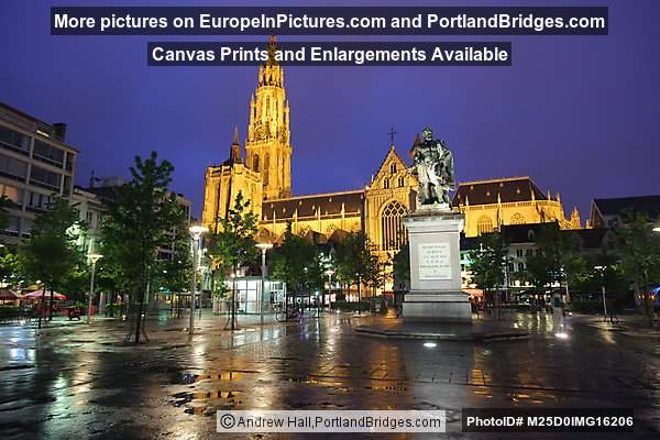 Groenplaats, Cathedral at Night, Antwerp, Belgium