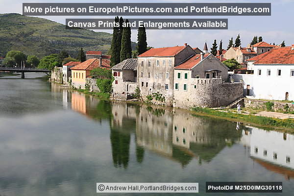 Trebinje along the Trebisnjica River, building reflections