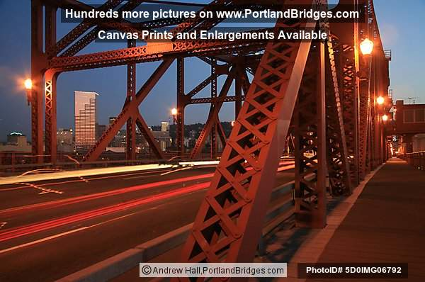 Broadway Bridge, Dusk, Car Lights (Portland, Oregon)