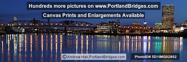 Portland, Broadway Bridge, River Reflections, Dusk