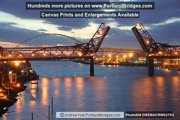 Broadway Bridge, Open, Dusk (Portland, Oregon)