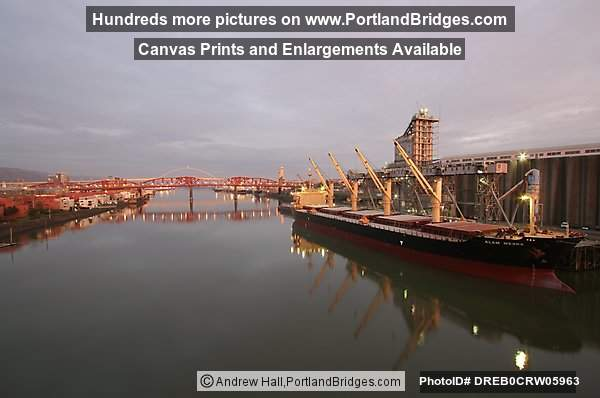 Grain Ship, Broadway Bridge, Willamette River Reflection, Morning (Portland, Oregon)