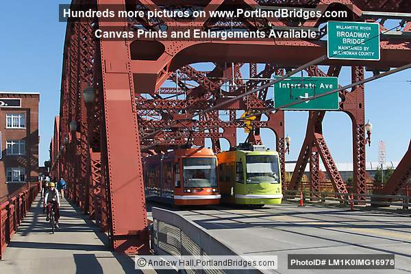 Two Streetcars on Broadway Bridge (Portland, Oregon)