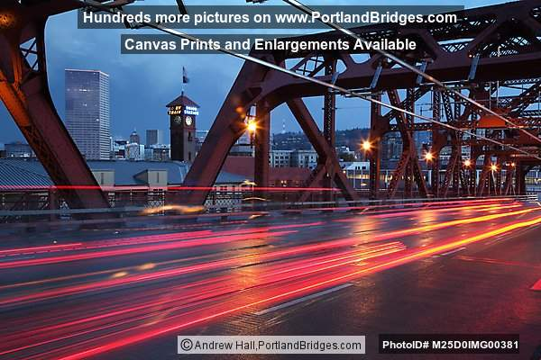 Walking Across Broadway Bridge, Dusk (Portland, Oregon)