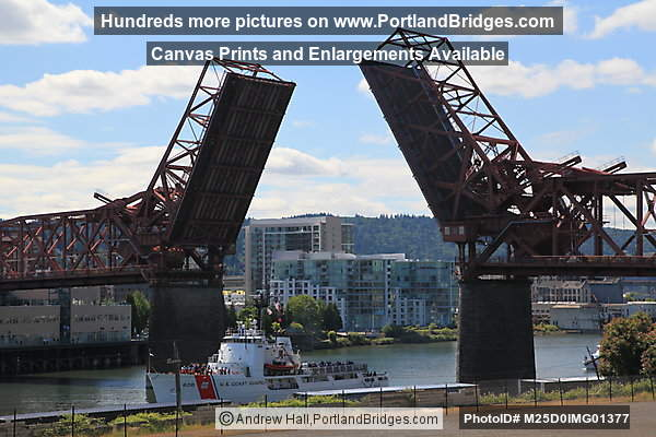 Broadway Bridge Open, USCGC Alert (Coast Guard Cutter) (Portland, Oregon)