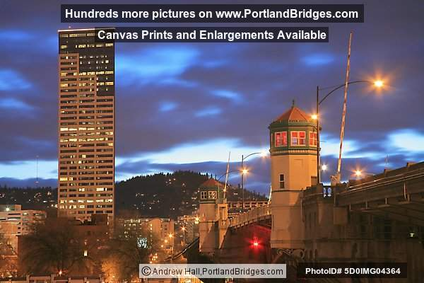 Burnside Bridge, US Bancorp Tower, Dusk (Portland, Oregon)