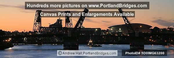Burnside Bridge Open, Steel Bridge, Rose Garden Arena, Dusk (Portland, OR)