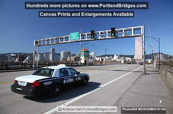 Top of Burnside Bridge, Taxi Cab, Portland