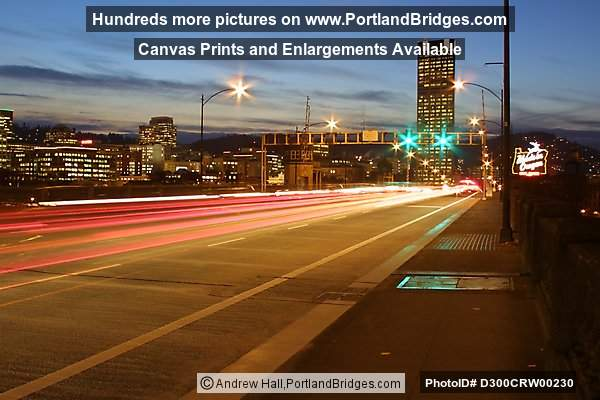 Burnside Bridge, Car Lights, Dusk