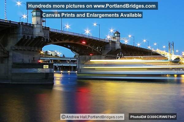 Portland Spirit Under the Burnside Bridge, Long Exposure, Dusk
