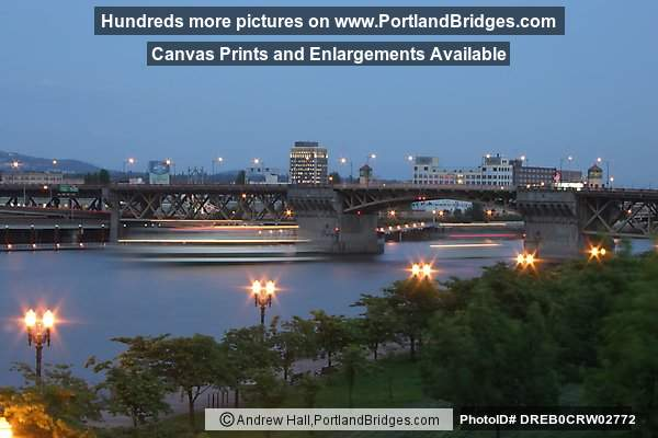 Willamette River, Burnside Bridge, Moving Ship, Dusk