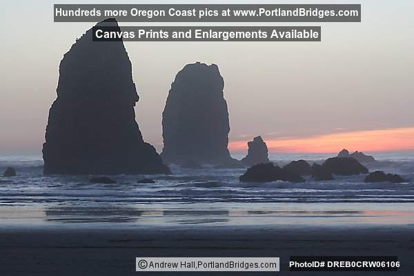 Cannon Beach, Rocks, Dusk