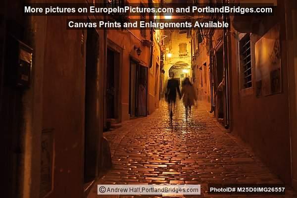 Old Town Street, People Walking at Night