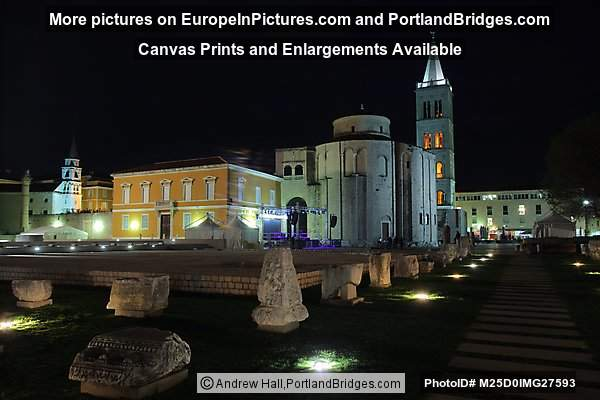 Cathedral, Roman Forum at Night, Zadar, Croatia