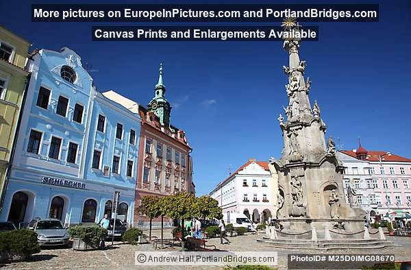 Main Square, Plague Column, Jindrichuv Hradec, Czech Republic