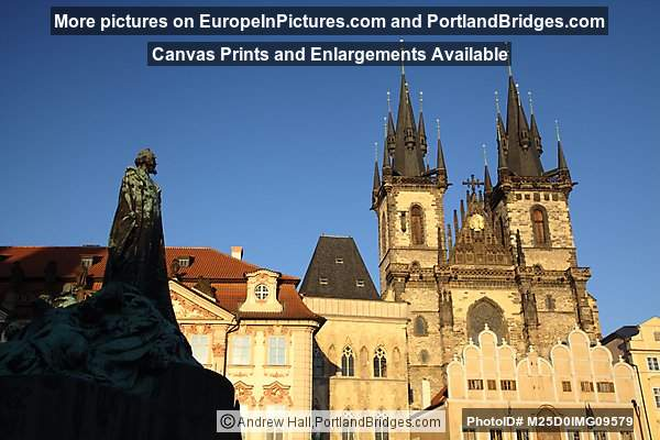 Jan Hus Monument, Tyn Church, Prague