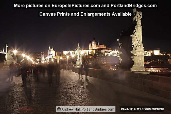 Charles Bridge, Castle, Night