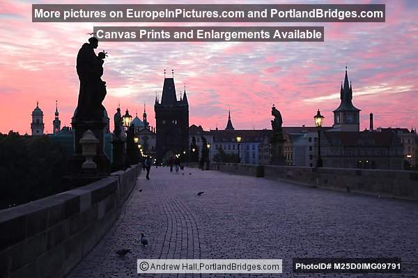Charles Bridge, Daybreak, Orange Sky, Prague