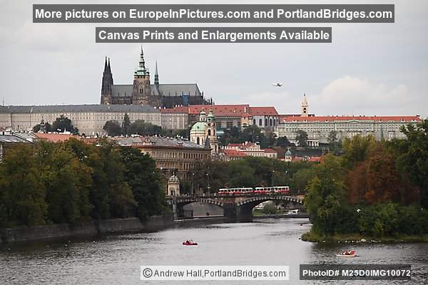 Prague Castle, Cathedral, Tram, Legii Bridge, Vltava River