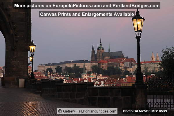 Prague Castle, Cathedral, Morning, from Charles Bridge