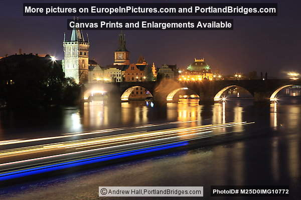 Charles Bridge, Light Streaks, Vltava River, Dusk, Prague