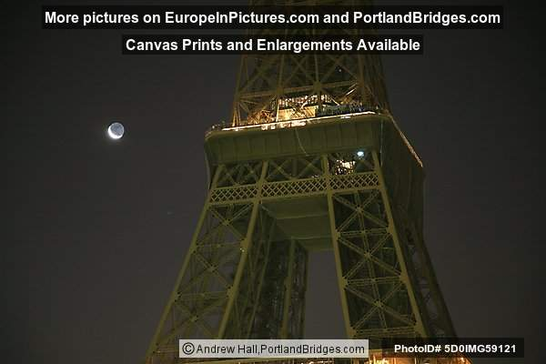 Eiffel Tower at Night, Moon