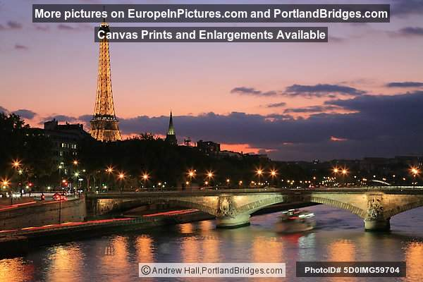Eiffel Tower from Pont Alexandre III, Dusk