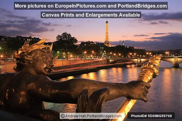 Eiffel Tower from Pont Alexandre III, Dusk, Paris