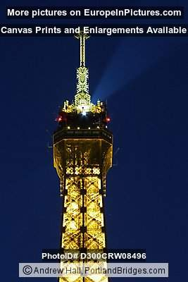 Eiffel Tower (top), Paris, Dusk, Lighted