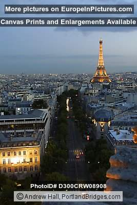 Eiffel Tower from top of Arc de Triomphe, Paris, Dusk, Lighted