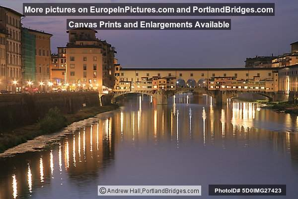 Ponte Vecchio and Arno River, Dusk, Florence, Italy
