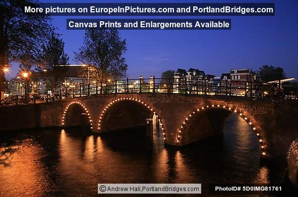 Amsterdam Bridge, Lit Up at Night