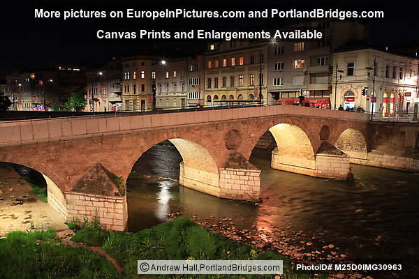 Latin Bridge at Night, Sarajevo