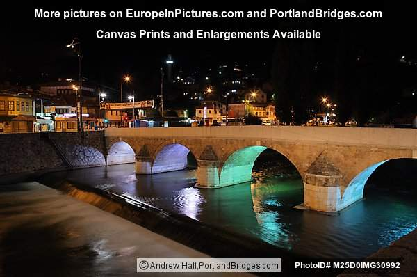 各her-Ćehaja Bridge at Night, Sarajevo