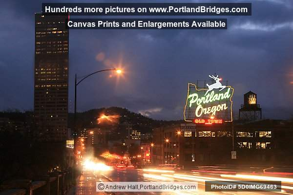 Portland, Oregon Sign, Dusk, 2010
