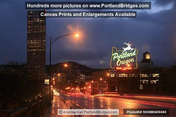 Portland, Oregon Sign, Dusk