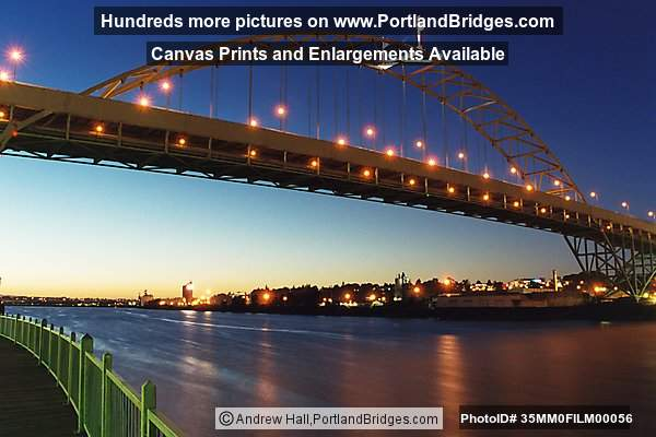 Fremont Bridge, Dusk, from west side, Willamette River