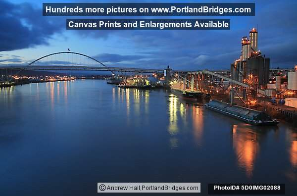 Fremont Bridge, Grain Ships, Willamette River, Dusk (Portland, Oregon)