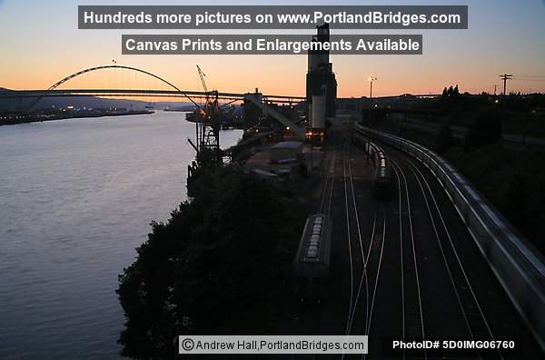 Fremont Bridge, Freight Trains, Dusk (Portland, Oregon)