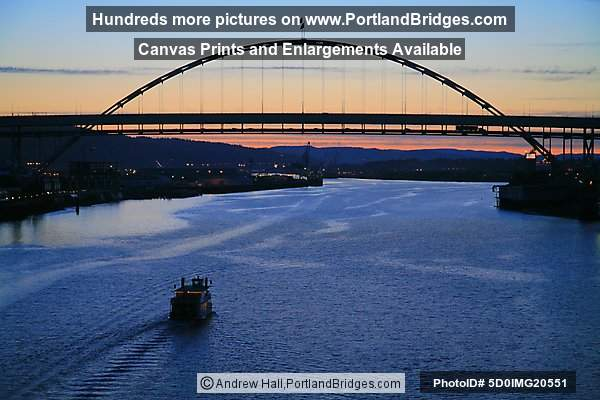 Fremont Bridge with Sternwheeler Rose, Dusk (Portland, Oregon)