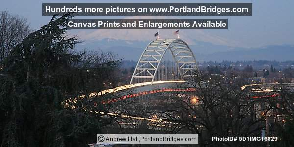 Fremont Bridge, Mt. St. Helens, Dusk
